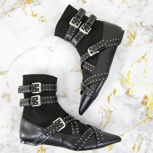 Zara Buckled Sock Ankle Vegan Pirate Flat Boots